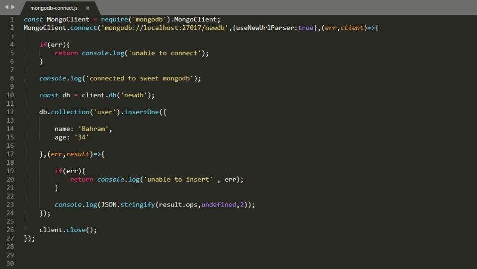 نحوه اتصال Node.js به پایگاه داده MongoDB
